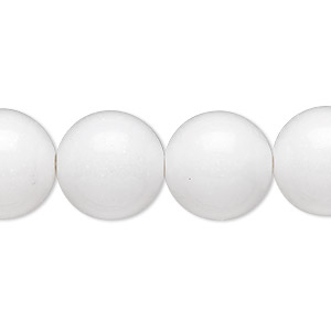 bead, white mountain jade (natural), 14mm round, b grade, mohs hardness 3. sold per 16-inch strand.