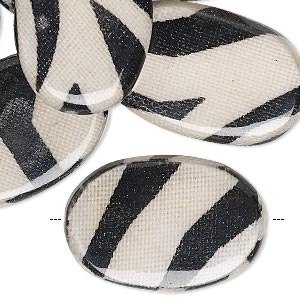 bead, wood / cotton / acrylic, black and cream, 30x20mm double-sided flat oval with zebra stripe pattern. sold per pkg of 8.
