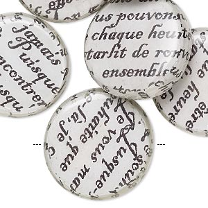 bead, wood / newspaper / acrylic, white and black, 24mm double-sided flat round with phrase in french. sold per pkg of 8.