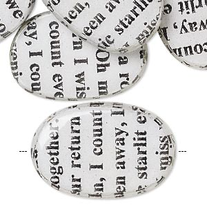 bead, wood / newspaper / acrylic, white and black, 30x20mm double-sided flat oval with phrase in english. sold per pkg of 8.