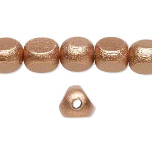 bead, wood (coated / waxed), metallic copper, 10x10x10mm rounded triangle. sold per 16-inch strand.