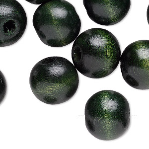 bead, wood (dyed / coated), dark green, 15.5x14mm rondelle. sold per pkg of 24.