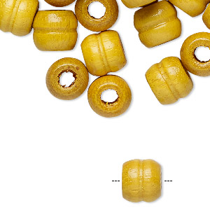 bead, wood (dyed / coated), yellow, 10x9mm carved barrel. sold per pkg of 100.