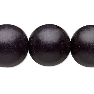 bead, wood (dyed / waxed), black, 19-20mm round with 2.5-3mm hole. sold per 16-inch strand.