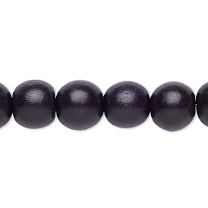 bead, wood (dyed / waxed), black, 9-10mm round with 2-2.5mm hole. sold per pkg of (2) 16-inch strands.