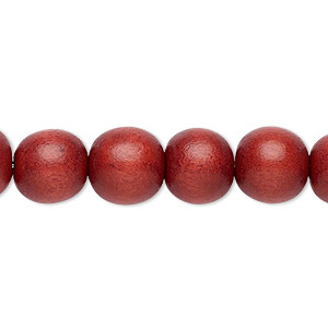 bead, wood (dyed / waxed), brown, 9-10mm round with 2-2.5mm hole. sold per pkg of (2) 16-inch strands.