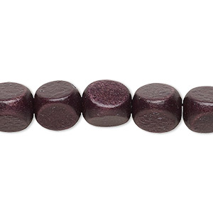 bead, wood (dyed / waxed), chocolate brown, 10mm rounded triangle with 1.5-2.5mm hole. sold per 16-inch strand.