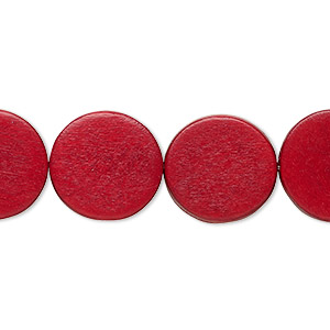 bead, wood (dyed / waxed), cranberry red, 15mm flat round. sold per 16-inch strand.