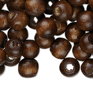 bead, wood (dyed / waxed), dark brown, 10x9mm hand-cut rondelle, 2.5-3.4mm hole. sold per pkg of 500.