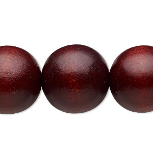 bead, wood (dyed / waxed), dark brown, 19-20mm round with 2.5-3mm hole. sold per 16-inch strand.