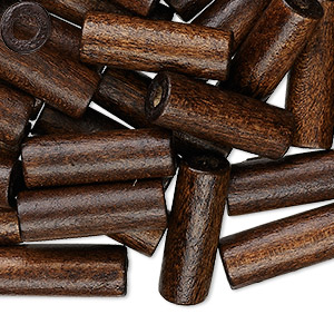 bead, wood (dyed / waxed), dark brown, 20x7mm hand-cut tube, 2.9mm hole. sold per pkg of 500.