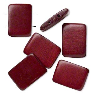 bead, wood (dyed / waxed), dark brown, 30x20mm double-drilled flat rectangle. sold per pkg of 6.