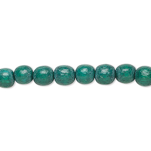 bead, wood (dyed / waxed), dark green, 5-6mm round with 0.5-2mm hole. sold per pkg of (2) 16-inch strands.