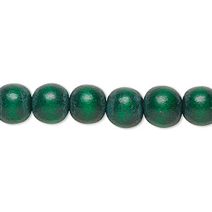 bead, wood (dyed / waxed), dark green, 7-8mm round. sold per pkg of (2) 16-inch strands.