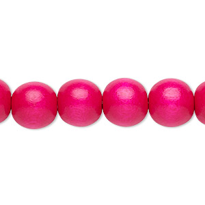bead, wood (dyed / waxed), dark pink, 9-10mm round with 2-2.5mm hole. sold per pkg of (2) 16-inch strands.
