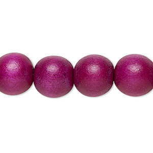 bead, wood (dyed / waxed), dark purple, 11-12mm round with 1.5-3mm hole. sold per pkg of (2) 16-inch strands.