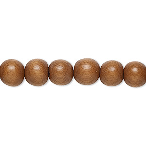 bead, wood (dyed / waxed), light brown, 7-8mm round. sold per pkg of (2) 16-inch strands.