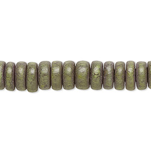 bead, wood (dyed / waxed), light forest green, 8x4mm rondelle. sold per pkg of (2) 16-inch strands.