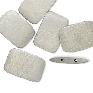bead, wood (dyed / waxed), light grey, 30x20mm double-drilled flat rectangle. sold per pkg of 6.