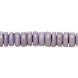 bead, wood (dyed / waxed), light grey, 8x4mm rondelle. sold per pkg of (2) 16-inch strands.