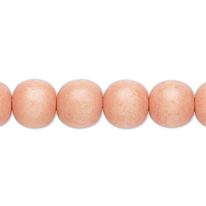 bead, wood (dyed / waxed), light orange, 9-10mm round with 2-2.5mm hole. sold per pkg of (2) 16-inch strands.