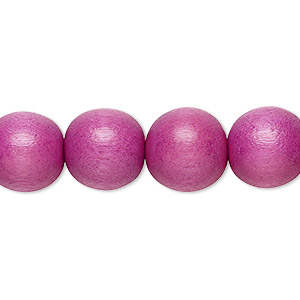 bead, wood (dyed / waxed), light purple, 11-12mm round with 1.5-3mm hole. sold per pkg of (2) 16-inch strands.
