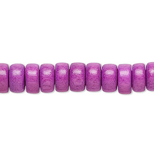 bead, wood (dyed / waxed), light purple, 8x4mm rondelle. sold per pkg of (2) 16-inch strands.
