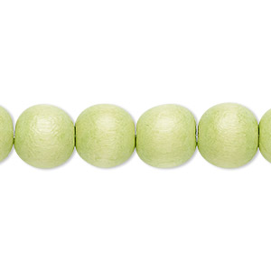 bead, wood (dyed / waxed), lime green, 9-10mm round with 2-2.5mm hole. sold per pkg of (2) 16-inch strands.
