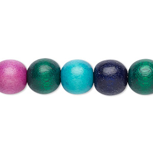 bead, wood (dyed / waxed), rainbow, 9-10mm round with 2-2.5mm hole. sold per pkg of (2) 16-inch strands.