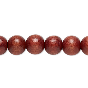 bead, wood (dyed / waxed), rust, 10mm round with 1.4-2.5mm hole. sold per 16-inch strand.