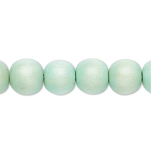 bead, wood (dyed / waxed), seafoam green, 9-10mm round with 2-2.5mm hole. sold per pkg of (2) 16-inch strands.