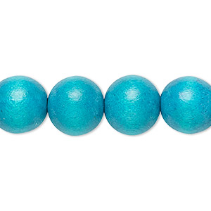 bead, wood (dyed / waxed), turquoise blue, 11-12mm round with 1.5-3mm hole. sold per pkg of (2) 16-inch strands.