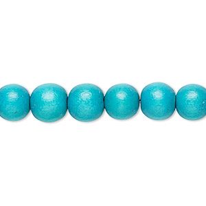 bead, wood (dyed / waxed), turquoise blue, 7-8mm round. sold per pkg of (2) 16-inch strands.