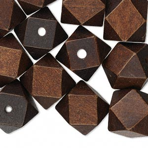 bead, wood (dyed), dark brown, 20x20mm hand-cut faceted cube. sold per pkg of 25.