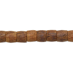 bead, wood (dyed), dark brown, 8x6mm-8x7mm round tube. sold per 25-inch strand.