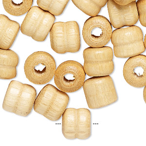 bead, wood (natural), 10x9mm double rondelle with 3mm hole. sold per pkg of 100.