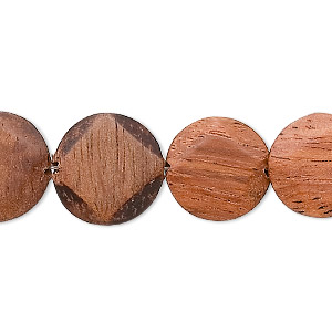 bead, wood (natural), 14mm faceted flat round. sold per 16-inch strand.
