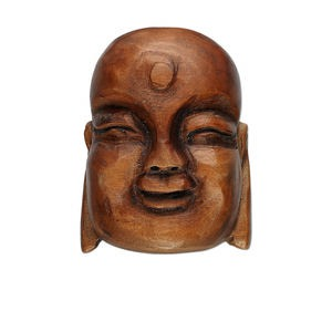 bead, wood (natural), 38x28mm carved buddha head. sold individually.