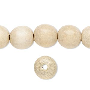 bead, wood (waxed), 11-12mm hand-cut round. sold per pkg of (2) 16-inch strands.