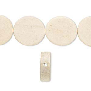 bead, wood (waxed), 14-15mm hand-cut flat round. sold per pkg of (2) 16-inch strands.