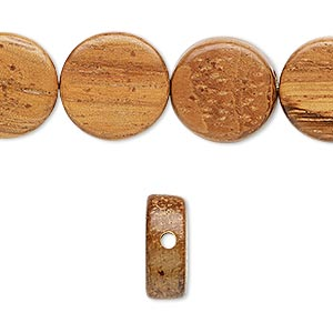 bead, wood (waxed), 15mm hand-cut flat round. sold per 16-inch strand.