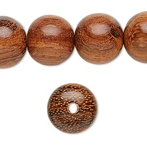 bead, wood (waxed), 15mm hand-cut round. sold per 16-inch strand.