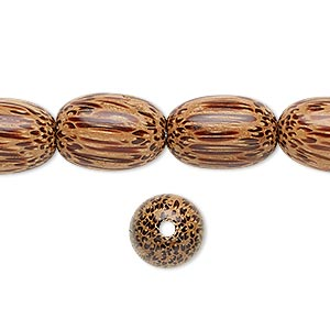 bead, wood (waxed), 15x10mm hand-cut oval. sold per 16-inch strand.