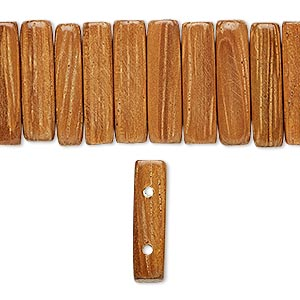 bead, wood (waxed), 18x5mm hand-cut double-drilled rounded rectangle. sold per 16-inch strand.