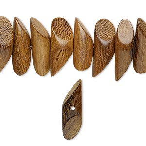 bead, wood (waxed), 26x9mm hand-cut sliced tube. sold per 16-inch strand.