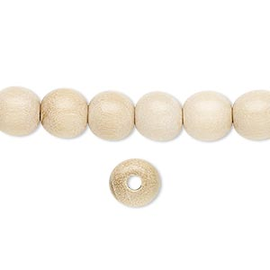 bead, wood (waxed), 7-8mm hand-cut round. sold per pkg of (4) 16-inch strands.