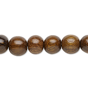 bead, wood (waxed), 9-10mm hand-cut round. sold per 16-inch strand.