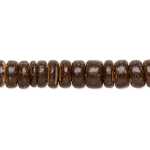 bead, wood (waxed), dark brown, 7x2mm-8x4.5mm hand-cut rondelle. sold per pkg of (2) 16-inch strands.