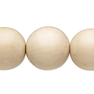 bead, wood (waxed), natural, 19-20mm round. sold per 16-inch strand.