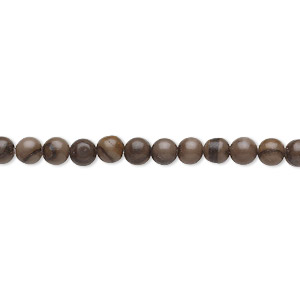 bead, woodgrain stone (natural), 4mm round, b grade, mohs hardness 3. sold per 16-inch strand.